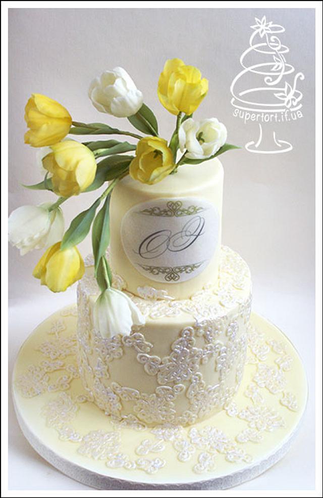 Yellow Tulips Wedding Cake