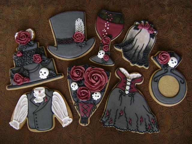 Victorian Gothic Rose Wedding Cookie Set