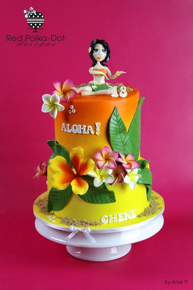 Marvelous Hawaiian Birthday Cake By Red Polka Dot Designs Was Cakesdecor Funny Birthday Cards Online Overcheapnameinfo