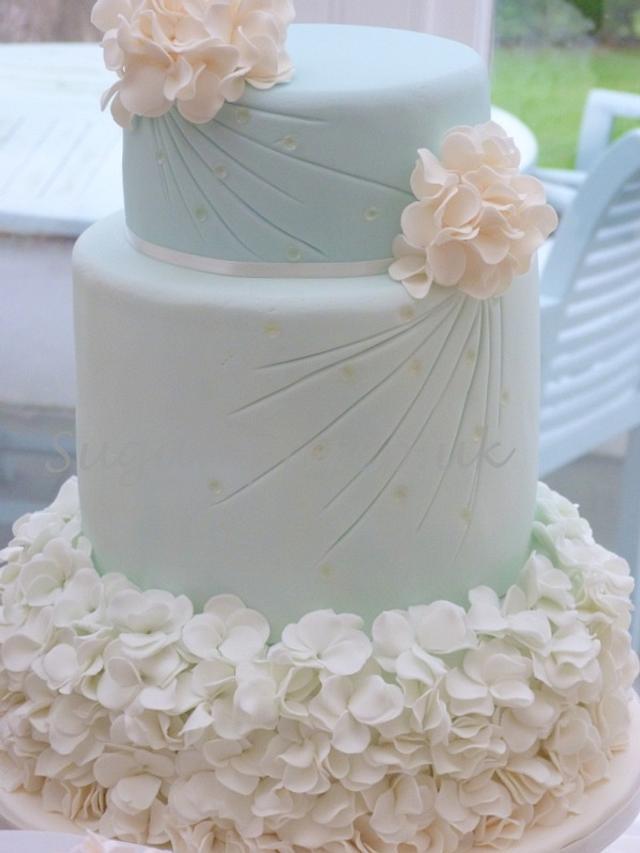 Ombre petal ruffle wedding cake