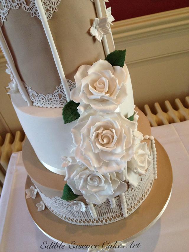 Vintage taupe and ivory birdcage wedding cake