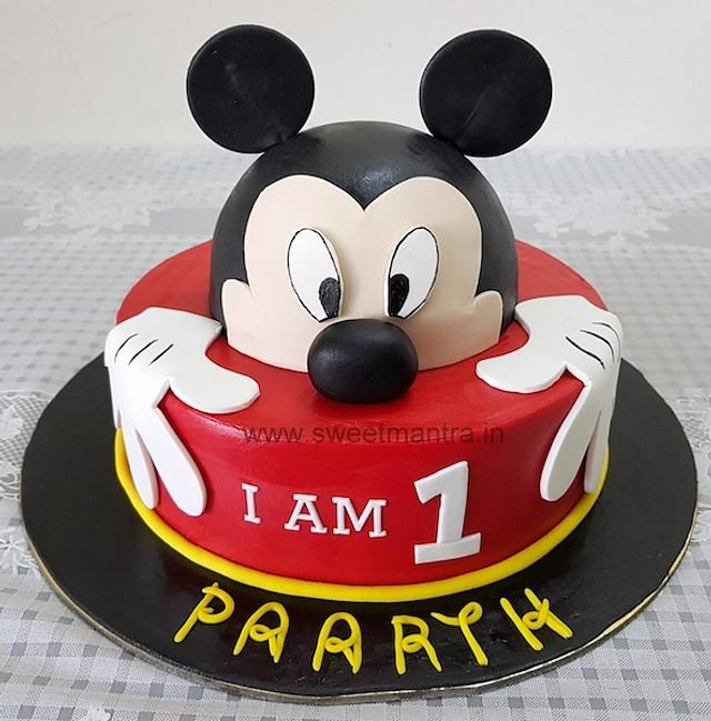 Groovy Mickey Mouse Theme Customised Fondant Cake For Boys 1St Cakesdecor Personalised Birthday Cards Veneteletsinfo