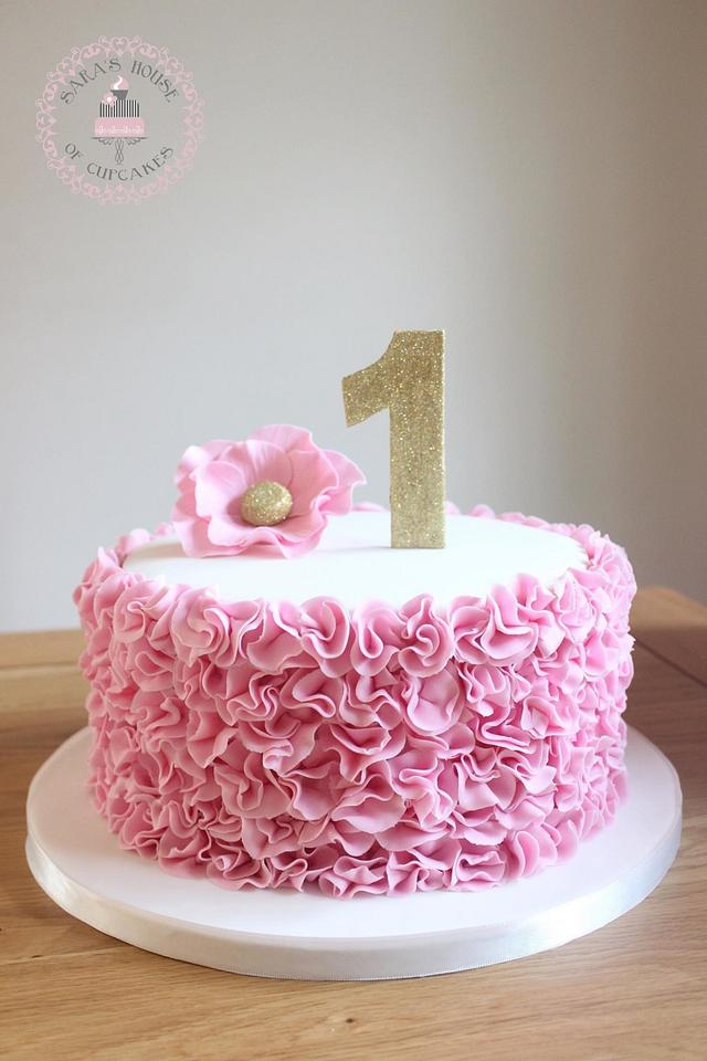 Cool Pink Ruffles 1St Birthday Cake Cake By Saras House Of Cakesdecor Personalised Birthday Cards Bromeletsinfo