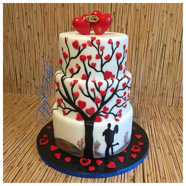 Wedding cake- tree with hearts