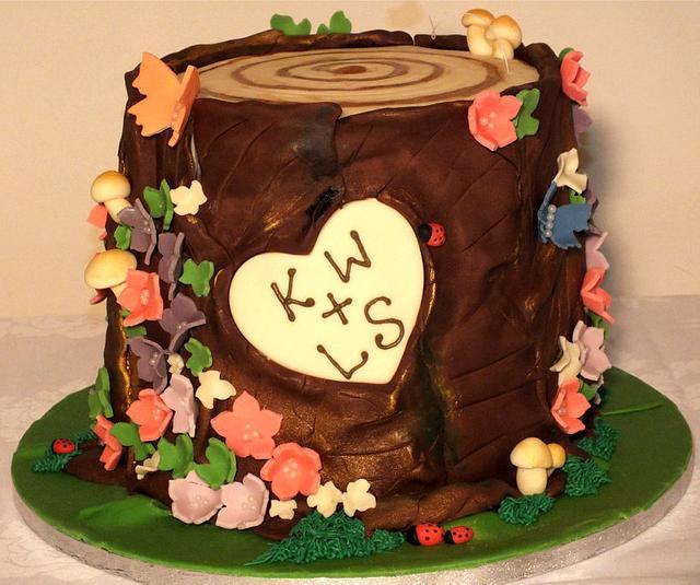 Tree Stump Engagement Cake