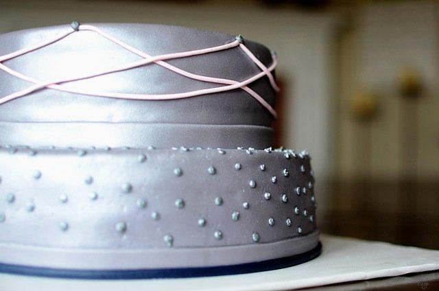 Gray, pink, navy wedding shower cake