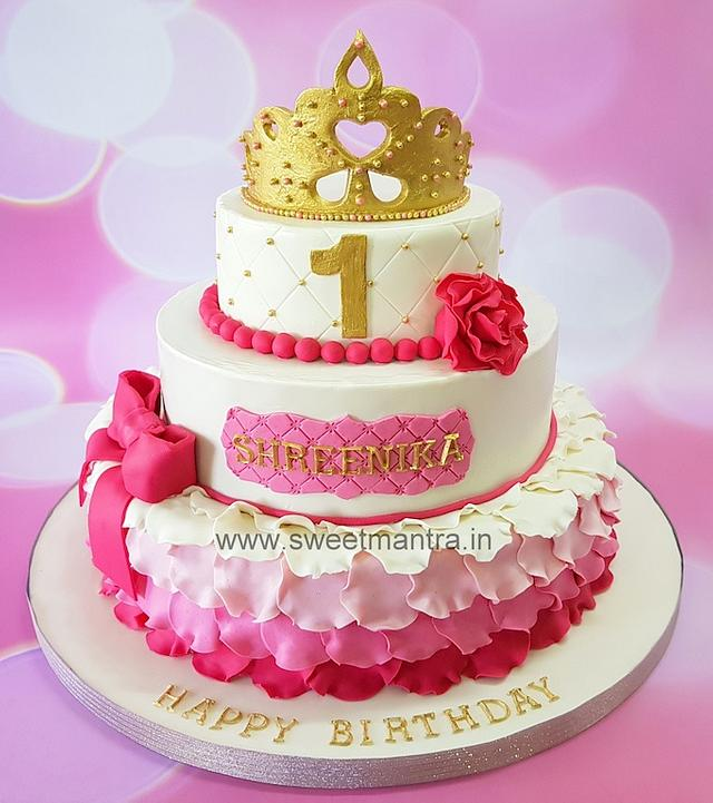 Outstanding Princess Theme Customized 3 Tier Designer Fondant Cake Cakesdecor Personalised Birthday Cards Veneteletsinfo