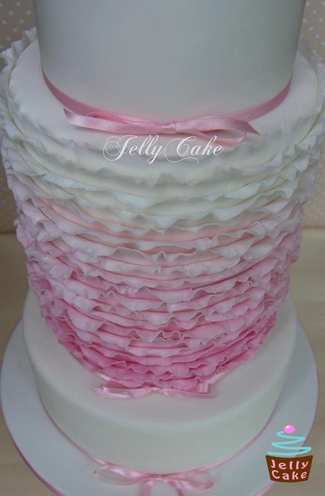 Ombre Frills Wedding Cake