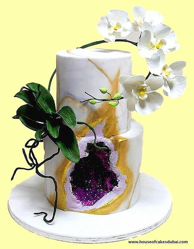Geode cake with orchids