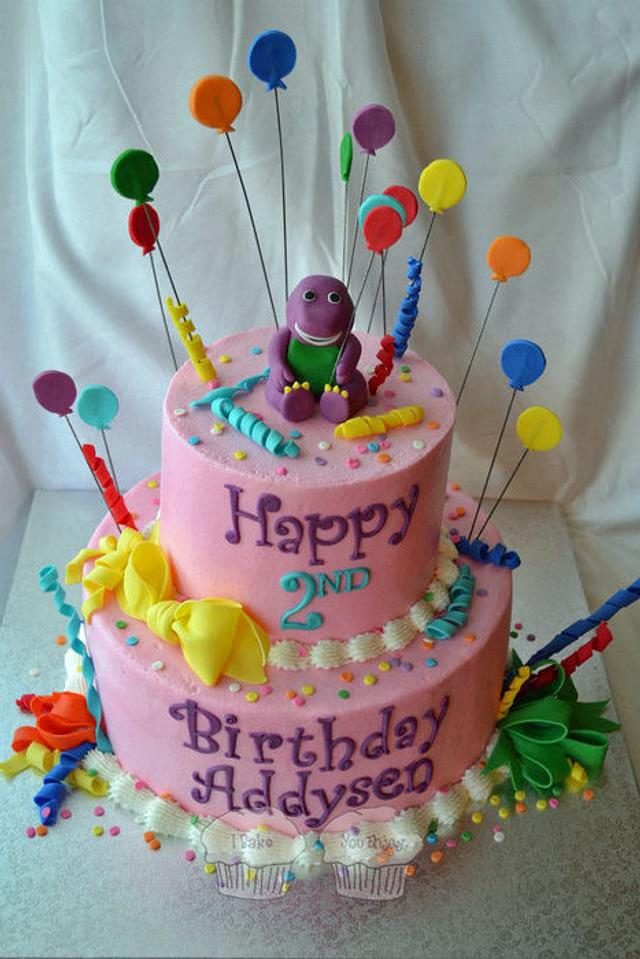 Marvelous Barney Birthday Cake By Susan Cakesdecor Personalised Birthday Cards Cominlily Jamesorg