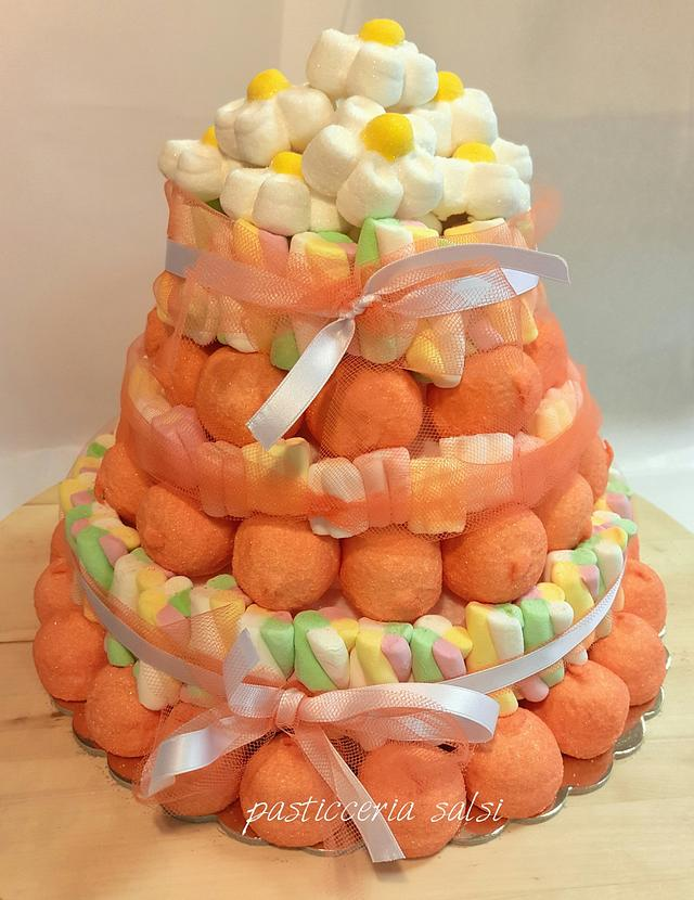 Marshmallow candy cake