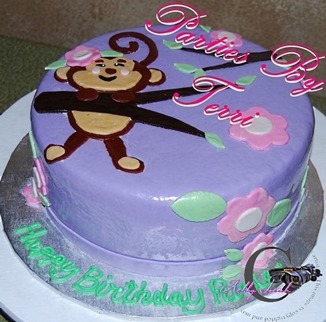 Pleasing Girley Monkey 1St Birthday Cake Cake By Parties By Cakesdecor Personalised Birthday Cards Petedlily Jamesorg