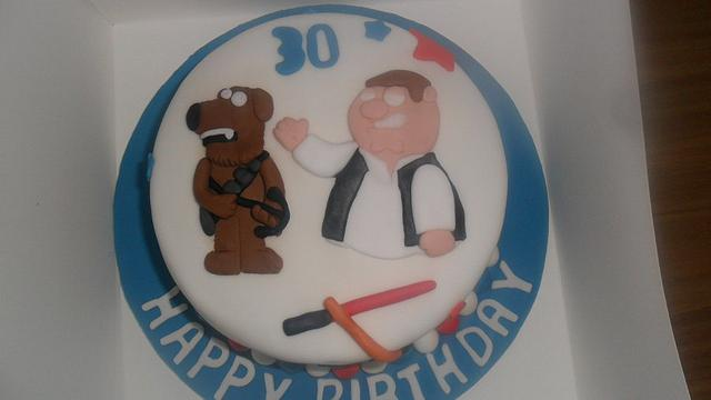 Fine Star Wars Family Guy 30Th Birthday Cake Cake By Rebecca Cakesdecor Personalised Birthday Cards Beptaeletsinfo