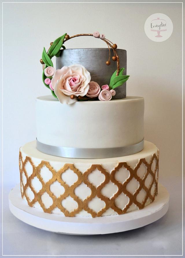 Boho chic minimalistic wedding cake