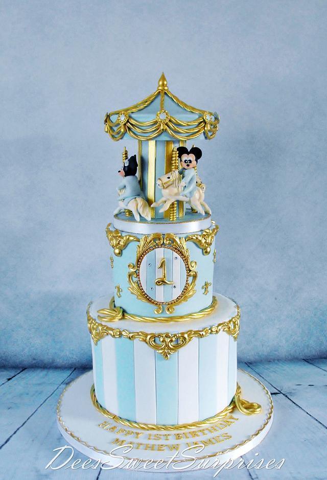 Boys 1st birthday Carousel cake