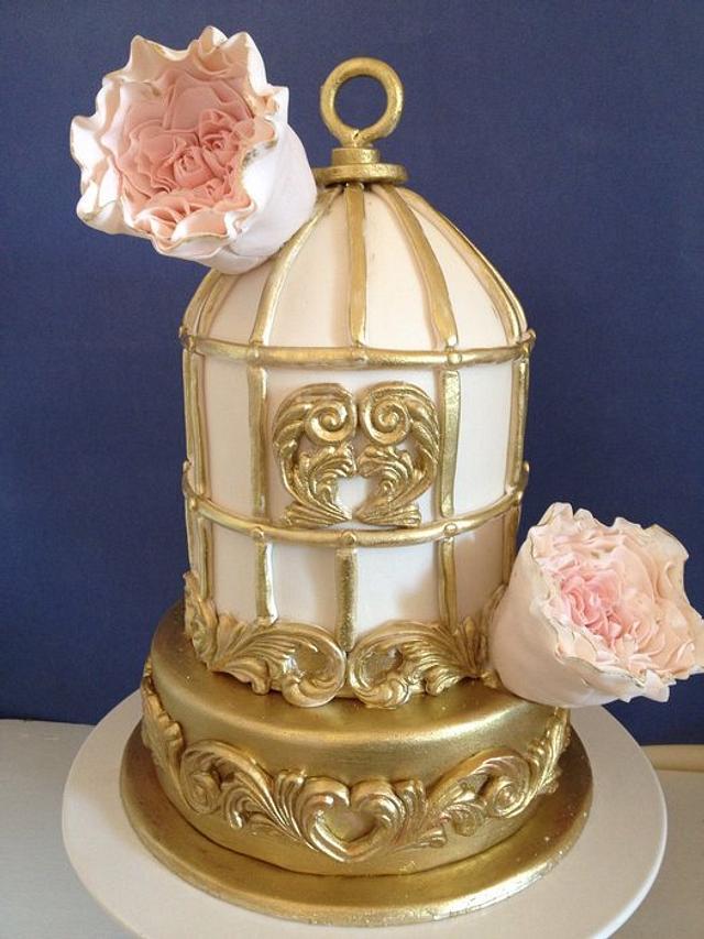 Birdcage cake with David Austin roses