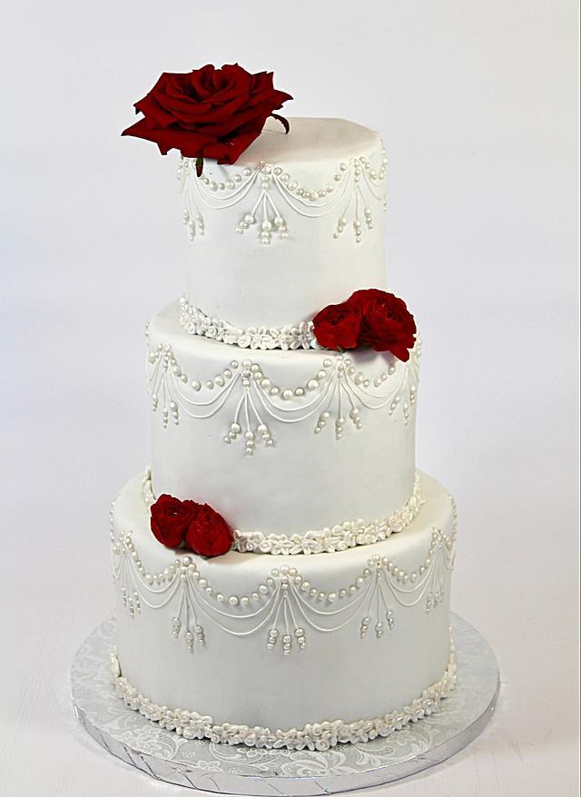 Grey engagement cake