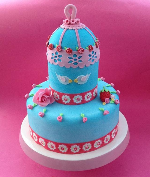 CK inspired bird cage cake