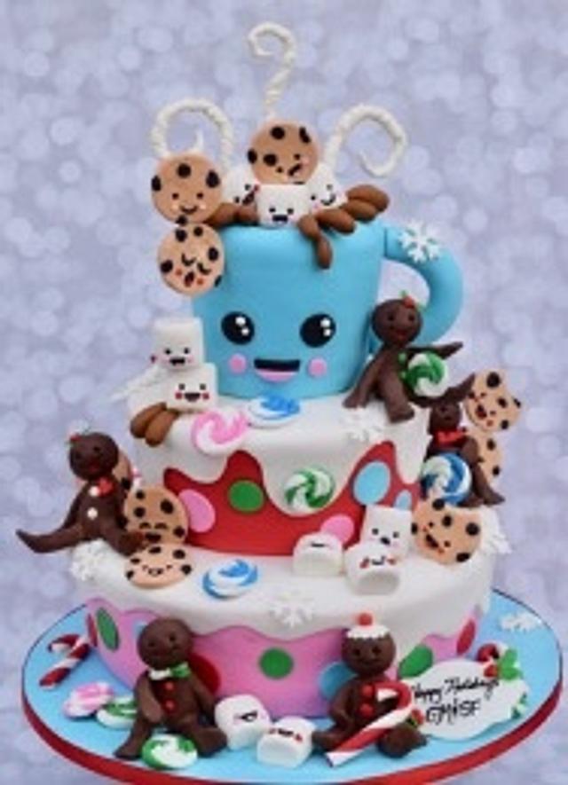 Holiday Kawaii Hot Chocolate with cookies and marshmallows
