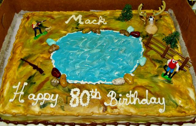 Hunting cake in buttercream icing