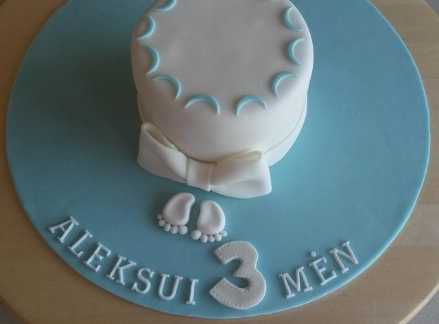 Little 3 month anniversary cake for a little boy