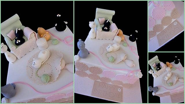 Sensational Crazy Cat Lady Cake Cake By Veronika Cakesdecor Funny Birthday Cards Online Elaedamsfinfo