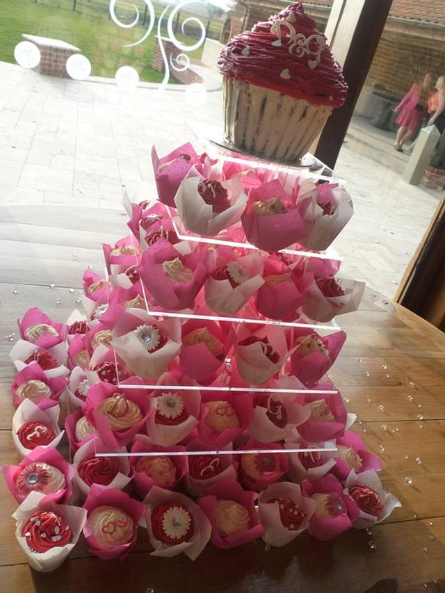 Cupcake tower for fushia colour theme wedding
