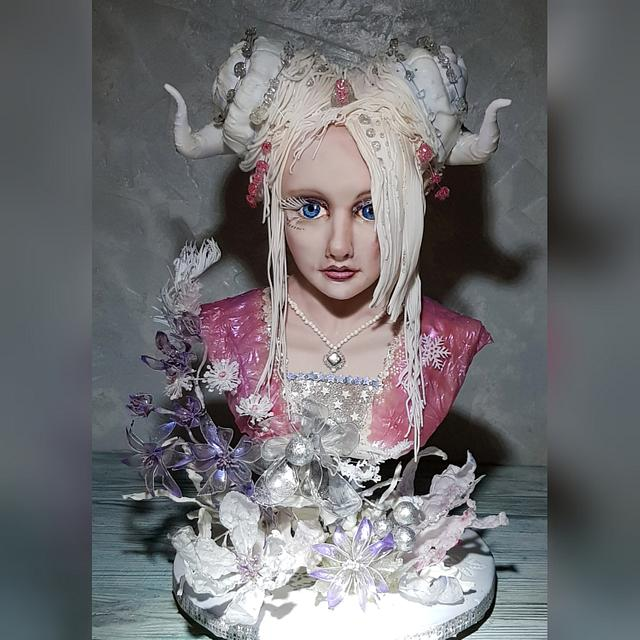 Winter fairy bust cake