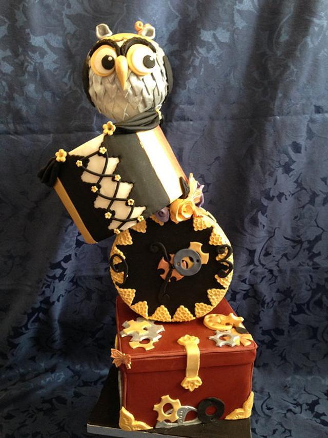 owl steampunk cake