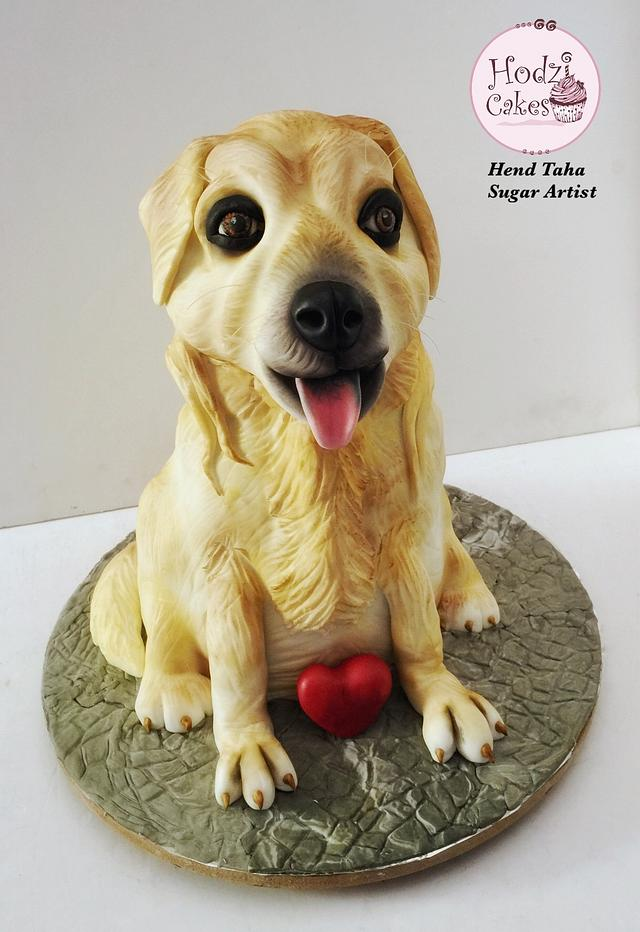 Sculpted Dog Cake 🐶💛