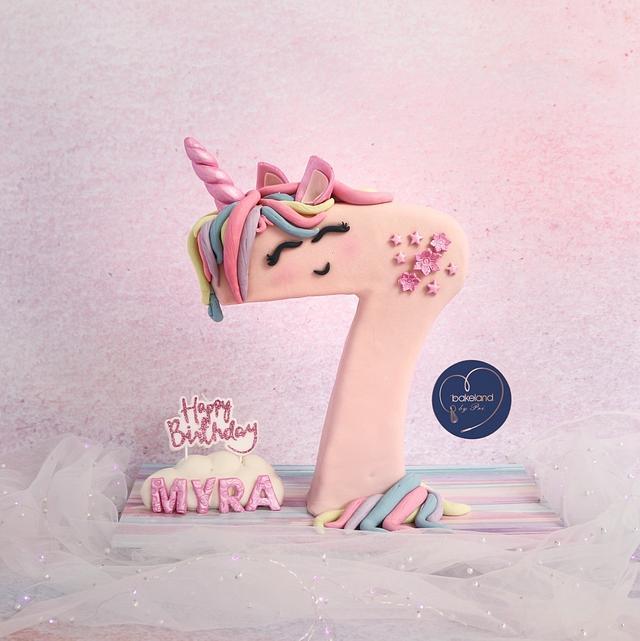 Unicorn Number 7 Cake