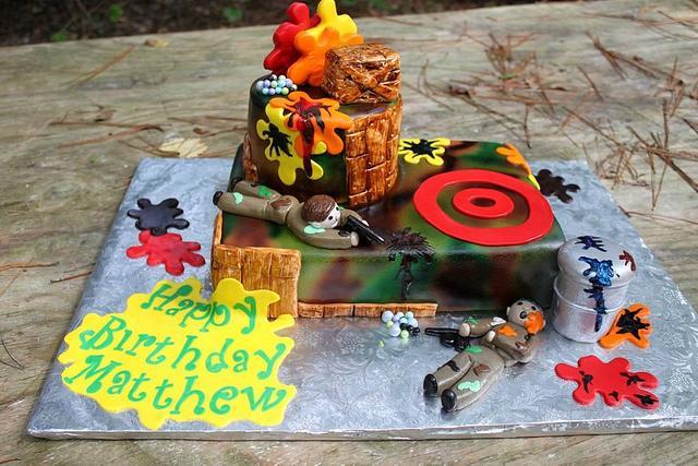 Groovy Paintball Birthday Cake Cake By Teresa Markarian Cakesdecor Birthday Cards Printable Giouspongecafe Filternl