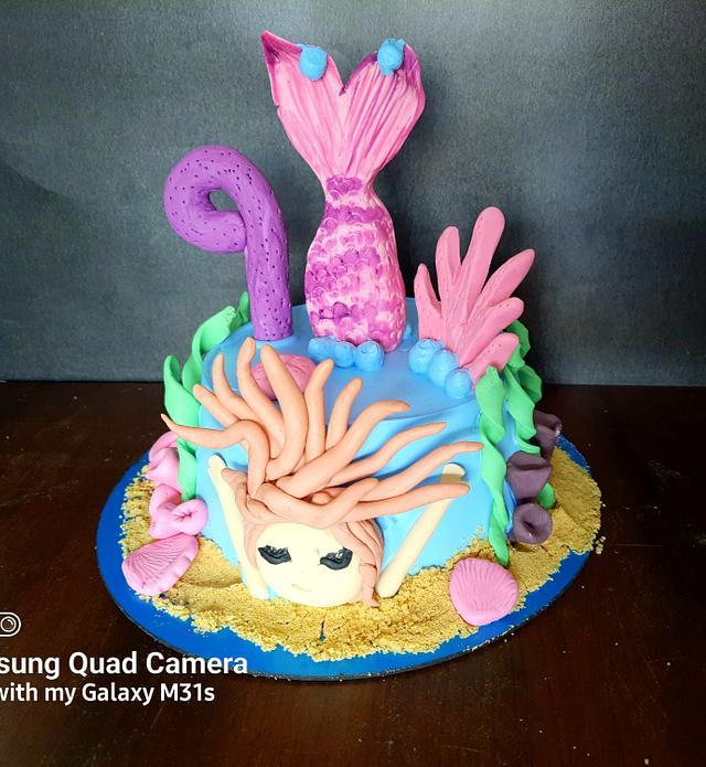 Underwater mermaid theme cake