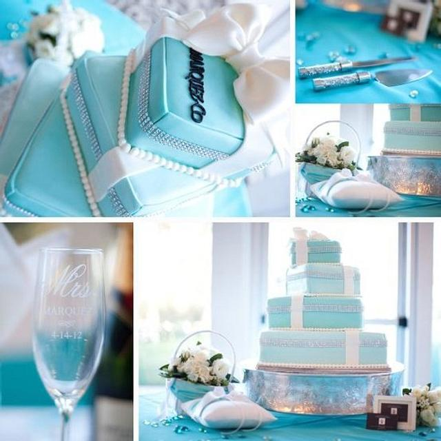 Tiffanys Themed Wedding Cake