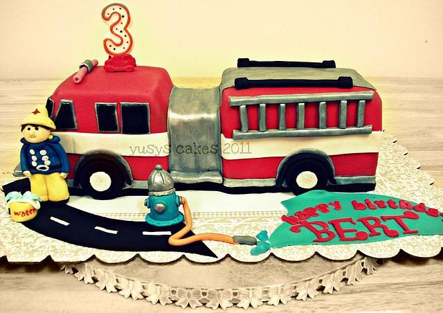 Fire Engine with Fireman Sam Cake