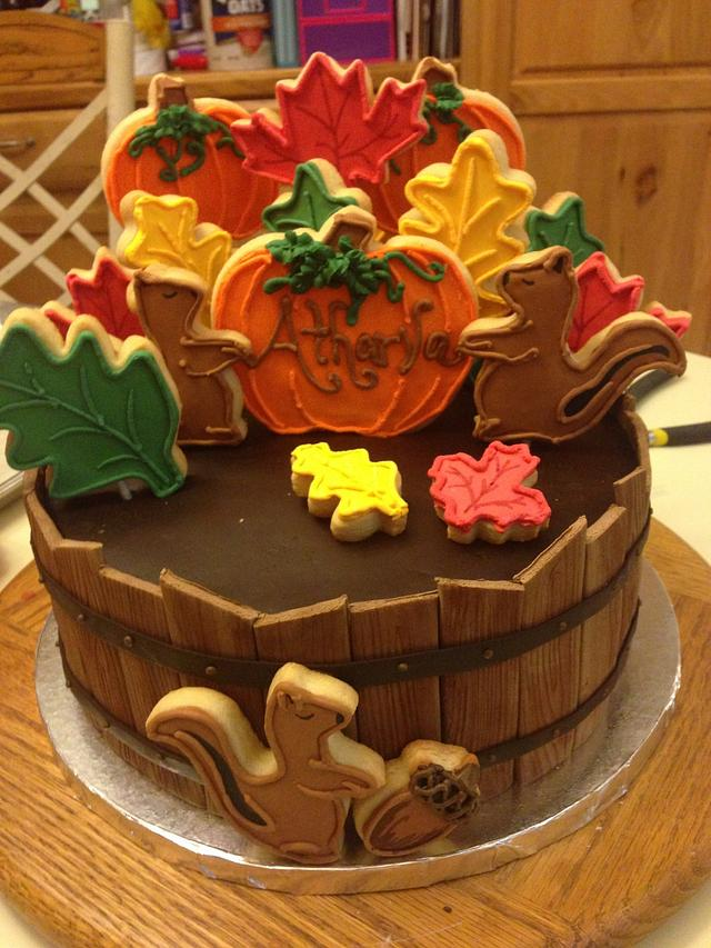 Fall Themed oak barrel (decorated Cookie) cake