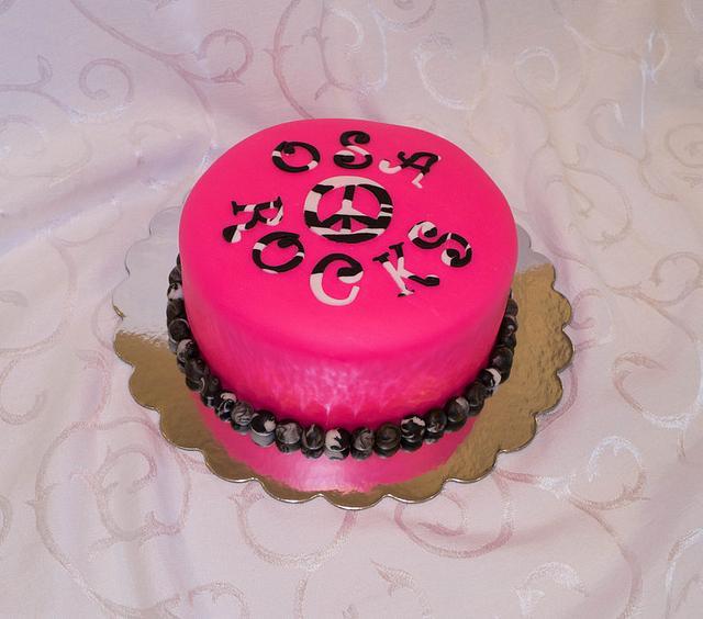 Black/White/Pink Zebra Cake