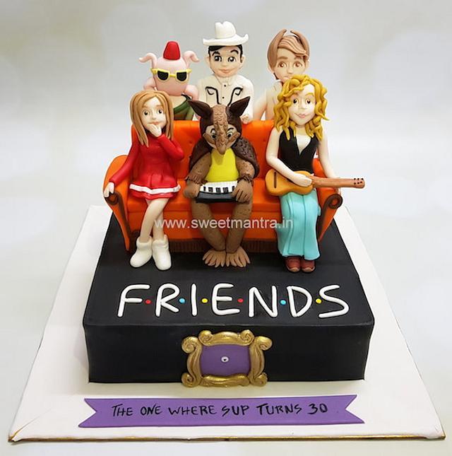 Phenomenal Friends Tv Series Theme Customized Cake With Figurines On Cakesdecor Funny Birthday Cards Online Chimdamsfinfo