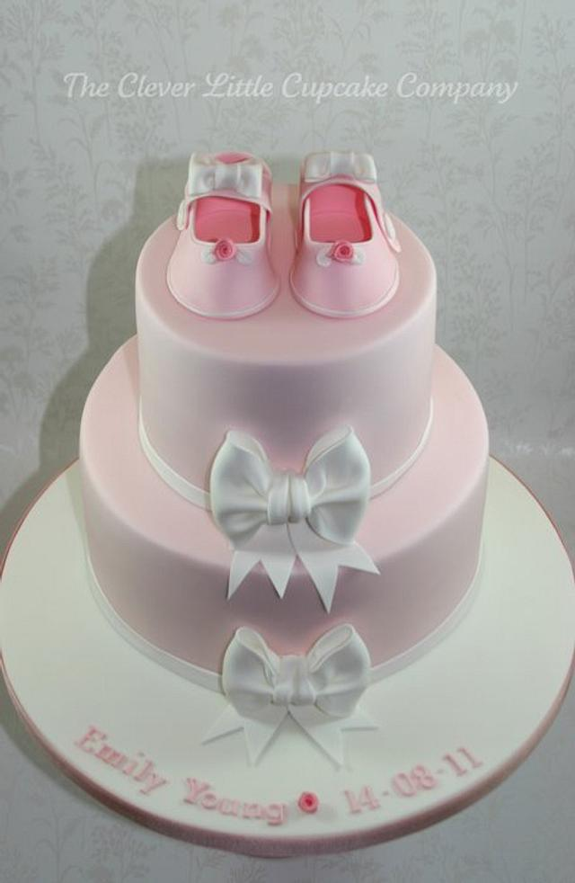 Bootees and Bows Christening Cake