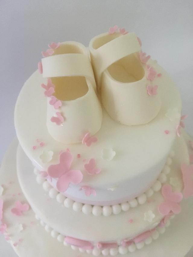 Butterflies baptism cake