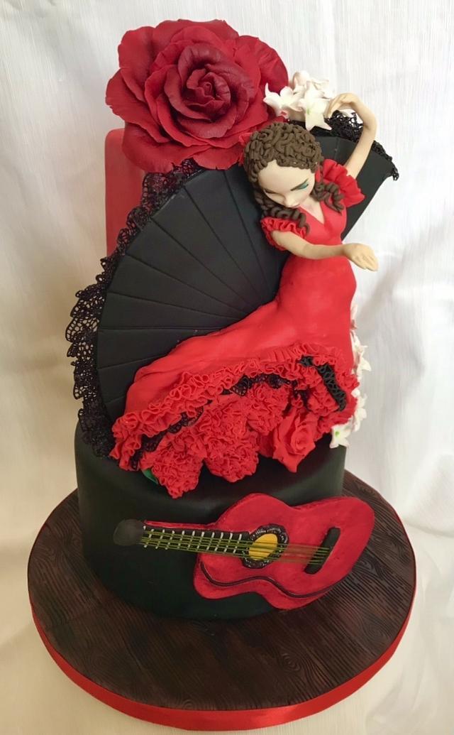 Spanish flamenco dancer cake