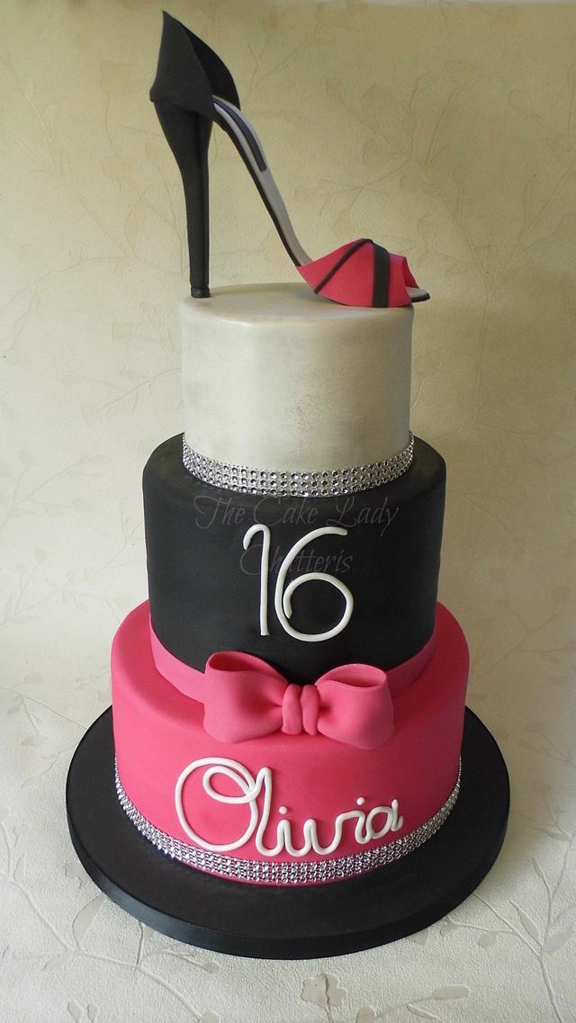 16th Bling & shoe cake
