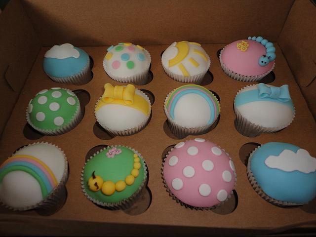 Unisex Baby shower cupcakes bright colourful