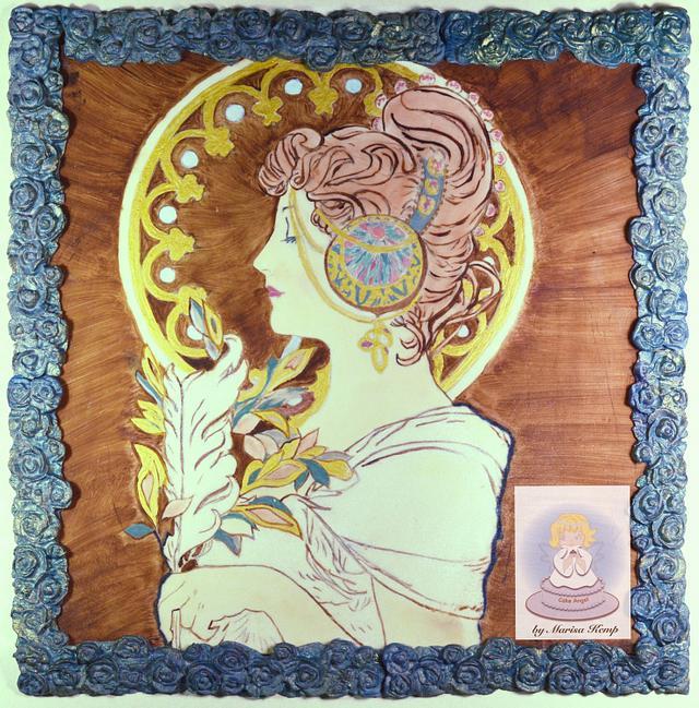 La Plume Painting - Art Nouveau Meets the Cake Artists - A Cake Collective collaboration