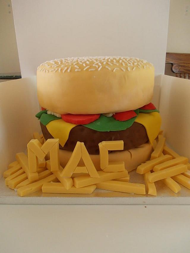 Burger and Chips Birthday Cake