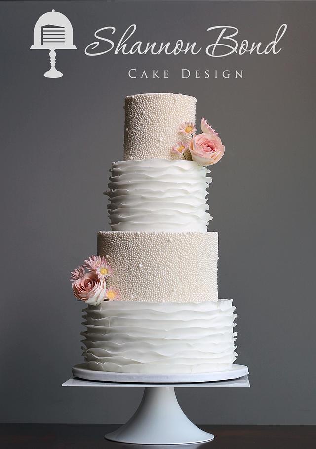 White-on-White Pearl and Ruffle Wedding Cake