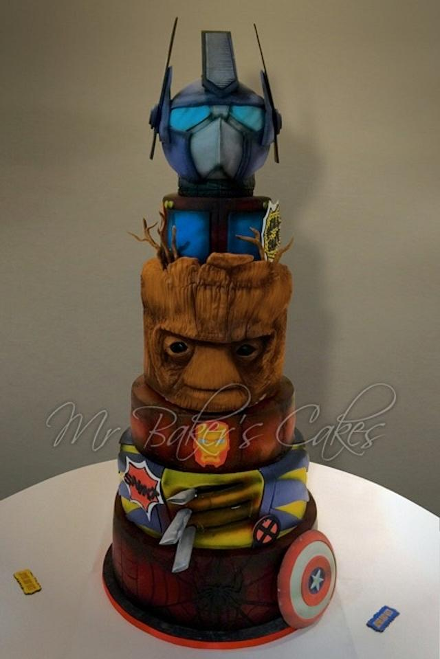 Marvel (and Transformers) Wedding Cake