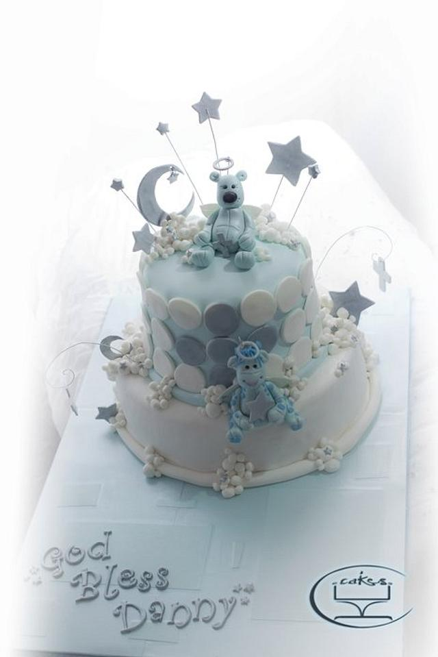 Blue Baptism themed cake