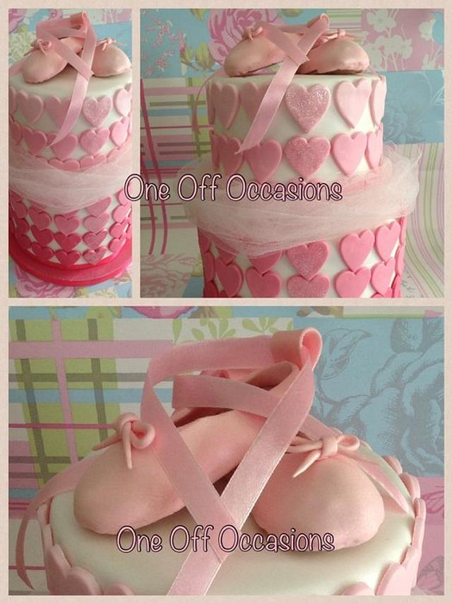 Ballet inspired birthday cake with edible shoes...