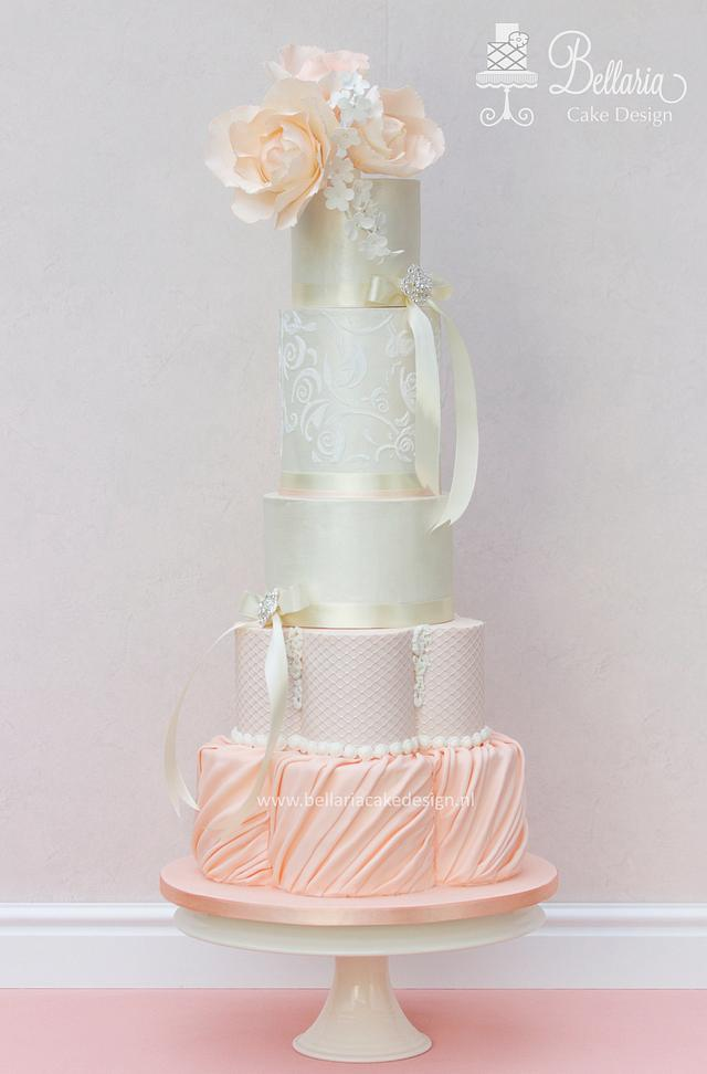Springly pastel lustre wedding cake